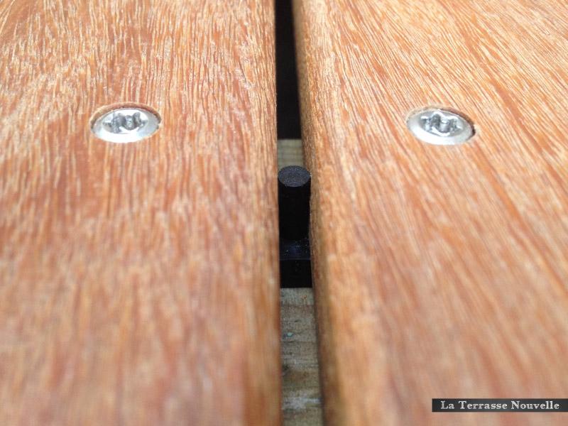 entretoise de ventilation espacement regulier terrasse bois - La Terrasse Nouvelle
